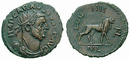 Two sides of a Roman coin depicting Carausius