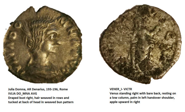 An irregular Roman coin with detailing of a head profile of Julia Domna one side and a depiction of Venus on the other