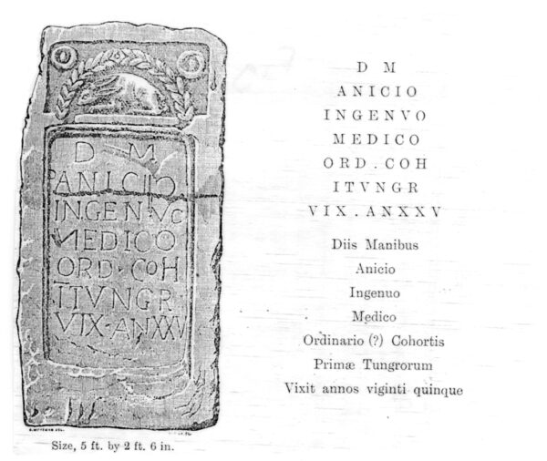 An illustration of a tombstone alongside an interpretation of the text it contains