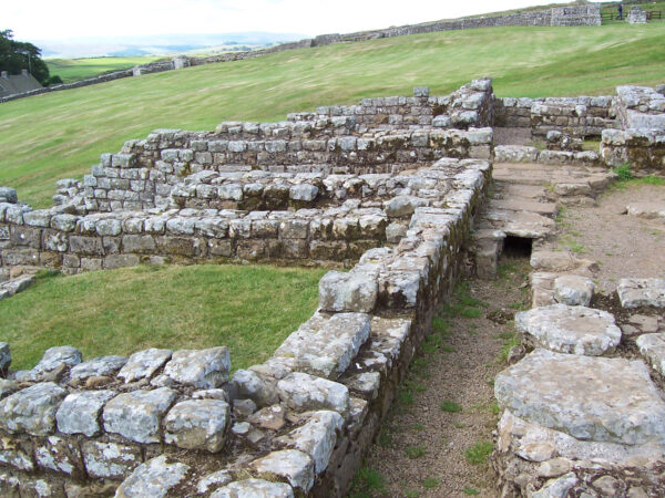 A photo showing the remains of buildings on the site of the hopsital at Housesteads