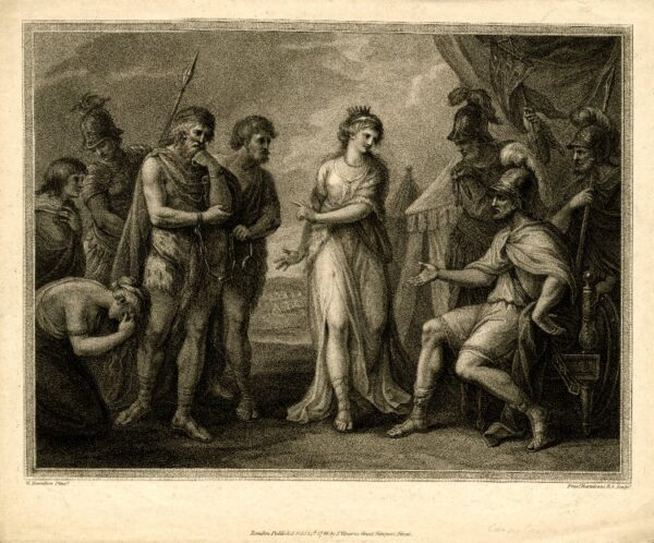 An engraving, showinga group of Romans and Caratus and his followers standing either side of Queen Cartmandua as she negotiates with the Romans
