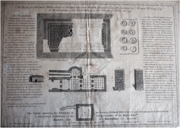 A greyscale copy of a report containing plan drawings, an introduction, and a description with a key to numbered elements within these plan drawings