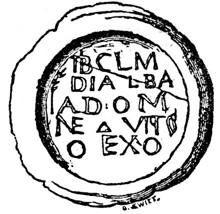 A black and white illustration of a circular collyrium stamp set within an rough edged irregular circular shape