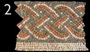 A section of Roman mosaic with a guilloche pattern: this pattern resembles platted strings or woven willow - in this example each strand has three light coloured stirpes between two dark coloured stripes, giving it a strong visual impact