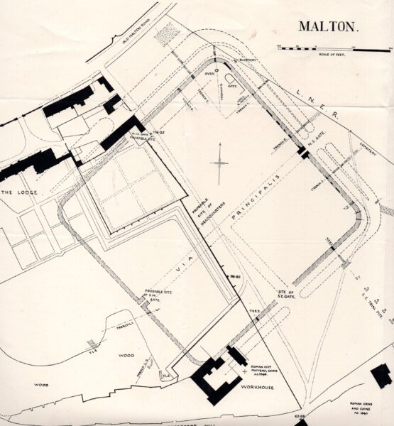 A greyscale plan of Malton Fort showing extensive detail of how this site was laid out - this plan also includes buildings that were there during excavation in the 1920's