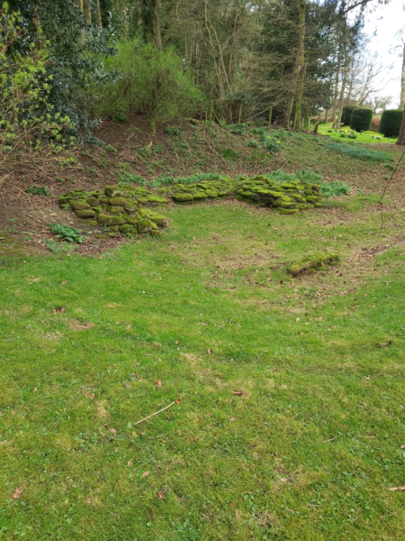 A colour photo showing parts of the outline of the corner tower, which are bright green with moss cover - the area is undulating, with a graas bank in the foreground, and rougher ground leading to mature trees in the background - in the far top right, well maintained yew hedging can be seen