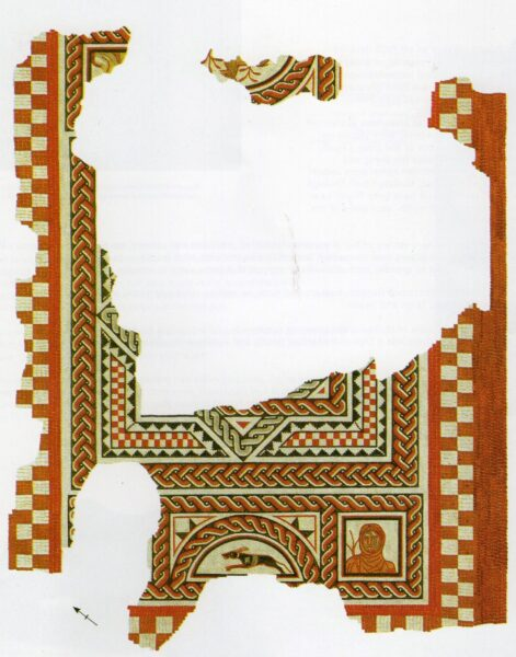 An colour illustration of a mosaic found at Town House in Malton - this has several twisting patterns of multicoloured strands called guilloche in red and in white - there is a central square - above and below this is a rectangle in the middle of two squares, as well as squares and triangles making up a patterns of several borders one within another