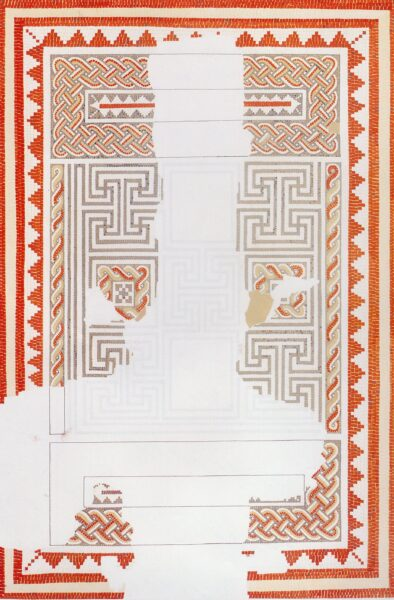 A colour illustration of a mosaic from Beadlam Villa showing two rectangular blocks above and below a square containing an interconnected pattern, with a mixed of styles, including twisted multicoloured strands of guilloche work - this is surrounded by another straight line borders alternating red/white/red