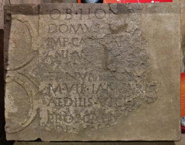 A colour photo of The Petuaria Inscription showing a rectangular stone with two large semi-circular decorations one above the other filling the lefthand side of this stone- running down the centre are ten lines of Latin text that are unreadable in places