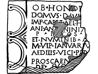 A black on white drawing showing all the remaining detail in a clearer and more easily readable form than on the damaged stone itself