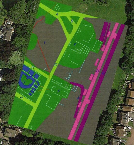 An illustrated colour map overlaid onto a photo of Burrs Playing Field in Brough - it shows a technical drawing of a range of features each marked with a letter